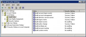 Local Security Settings - Audit Policy
