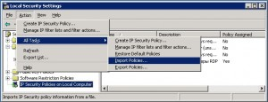 Local Security Settings - Import Policies